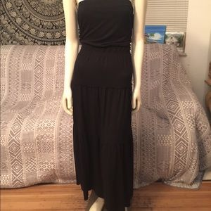 Old Navy Black Strapless Layered Maxi Dress Small